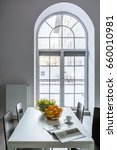 White Dining Room With Half...
