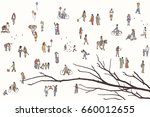 tiny pedestrians in the street  ... | Shutterstock .eps vector #660012655