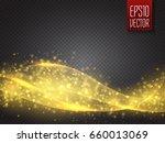 wavy cloud of golden glittering ... | Shutterstock .eps vector #660013069