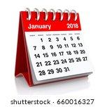 January 2018 Calendar. Isolate...