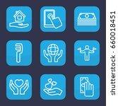 hold icon. set of 9 outline... | Shutterstock .eps vector #660018451