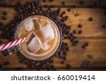 iced coffee on rustic wooden... | Shutterstock . vector #660019414