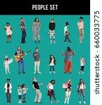 diverse of people enjoy music...   Shutterstock . vector #660033775