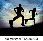 Silhouette Of A Man Running...