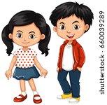 asian boy and girl standing... | Shutterstock .eps vector #660039289