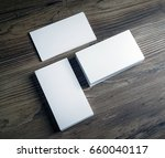 three piles of blank business... | Shutterstock . vector #660040117