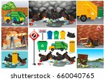scenes with dirty trash on the... | Shutterstock .eps vector #660040765