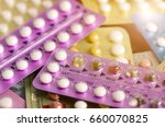 oral contraceptive pill on... | Shutterstock . vector #660070825