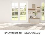white empty room with green... | Shutterstock . vector #660090139