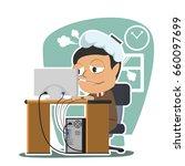 indian businessman got a fever... | Shutterstock .eps vector #660097699