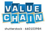 value chain blue squares...   Shutterstock . vector #660103984