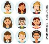 call center women agents flat... | Shutterstock .eps vector #660107281