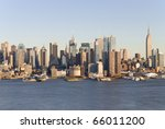 A daylight view of the New York City Skyline as seen from a cross the Hudson River in NJ. - stock photo