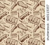 seamless pattern with beef ribs.... | Shutterstock .eps vector #660115357