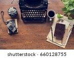 typewriter letter sheet publish ... | Shutterstock . vector #660128755