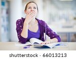pretty young college student in ... | Shutterstock . vector #66013213