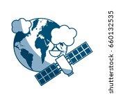 artificial satellite on planet... | Shutterstock .eps vector #660132535