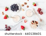 breakfast with muesli  yogurt ... | Shutterstock . vector #660138601