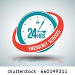 24hrs emergency services sign... | Shutterstock .eps vector #660149311