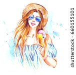 smiling girl in straw hat and...   Shutterstock . vector #660155101