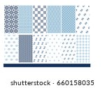set thai pattern vector blue...   Shutterstock .eps vector #660158035