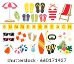 summer beach illustration set | Shutterstock .eps vector #660171427
