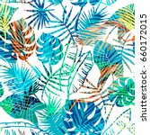 seamless exotic pattern with... | Shutterstock .eps vector #660172015