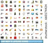 100 men leisure icons set in... | Shutterstock . vector #660174424