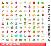 100 retail icons set in cartoon ... | Shutterstock . vector #660174661