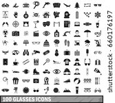 100 glasses icons set in simple ... | Shutterstock . vector #660176197