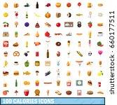 100 calories icons set in... | Shutterstock . vector #660177511