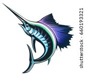 marlin fish logo.sword fishing... | Shutterstock .eps vector #660193321