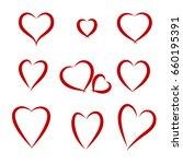 set of schematic red hearts.... | Shutterstock .eps vector #660195391