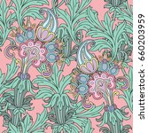 seamless pattern with floral... | Shutterstock .eps vector #660203959