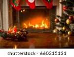 christmas background with... | Shutterstock . vector #660215131
