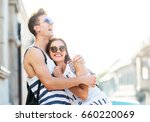 cute young couple hugging | Shutterstock . vector #660220069