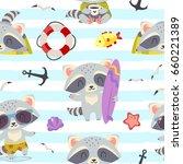 vector summer beach raccoon... | Shutterstock .eps vector #660221389