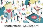 people enjoying shopping online ... | Shutterstock .eps vector #660226774