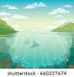 silhouette of two mantas  coral ... | Shutterstock .eps vector #660227674