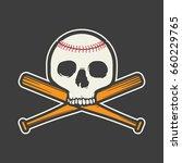 baseball skull on black... | Shutterstock .eps vector #660229765