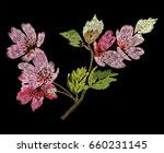 flowering branch embroidery for ... | Shutterstock .eps vector #660231145