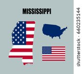 mississippi map with usa flag | Shutterstock .eps vector #660235144