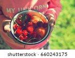 little girl is holding a bowl... | Shutterstock . vector #660243175