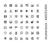 set of black web icons in pixel ...