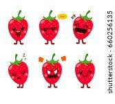 cute vector set of strawberry ... | Shutterstock .eps vector #660256135