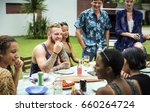diverse people enjoyment party...   Shutterstock . vector #660264724