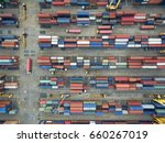 aerial view of cargo ship ... | Shutterstock . vector #660267019
