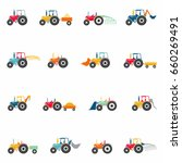 Colored Tractors Icons Set ...