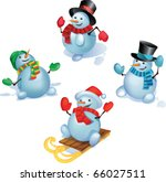 Group Of Snowmans In Standing...