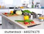 fresh vegetables and utensils... | Shutterstock . vector #660276175